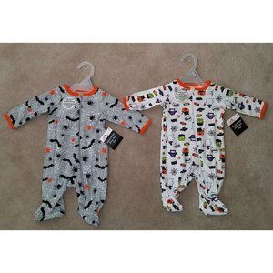 NWT 2 Halloween Baby Sleeper Outfits Lot NB 0-3m